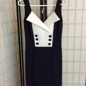 Vintage Bari-Jay Black & White Maxi Tuxedo Dress
